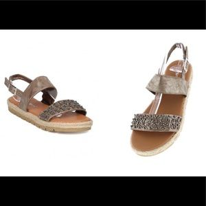 Champagne Beaded Sandals sz: 7 1/2& 8 1/2
